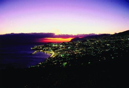Funchal, the capital of Madeira at night.