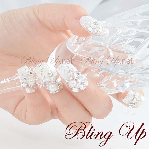 Japanese Wedding 3d Nail Art Set with Flowers Pearls by blingup, $43.99