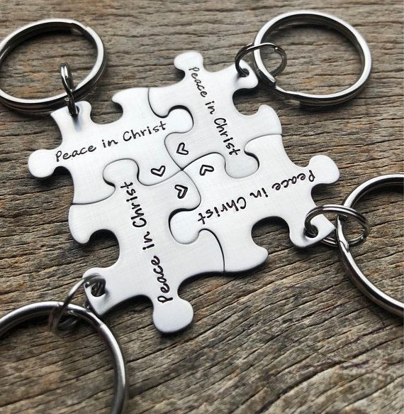 Customized Puzzle Piece Key Chain Personalized Peace in Christ  14aef9d1fe