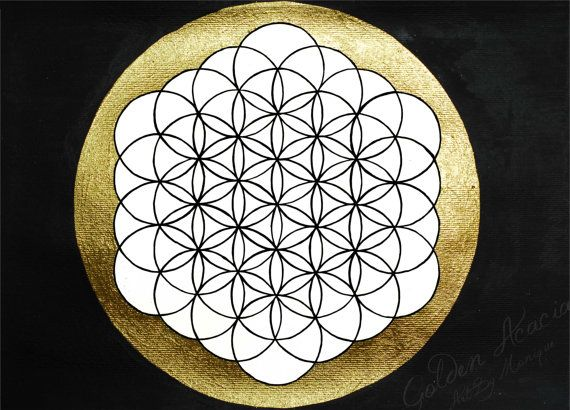 Flower of life painting: Sacred Geometry ink and gold leaf painting. A sacred symbol related to natural formation, music, and energy systems on Etsy, $25.00 AUD