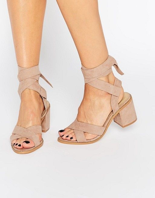 Truffle Collection | Truffle Tie Ankle Mid Heel Sandals