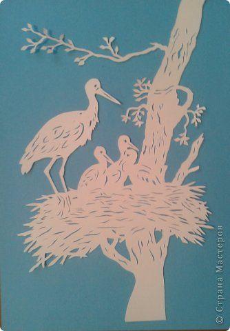 Картина, панно, рисунок Вырезание: Аисты Бумага. Фото 1