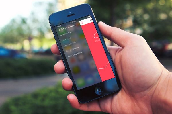 Weather app for iOS 7 by Sai Nihas, via Behance