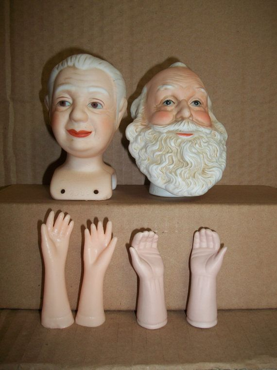 Mangelsen's Porcelain Santa and Mrs. Claus Head and by mooglamom