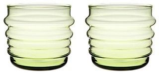 Set of 2 Marimekko Sukat Makkaralla Green Glasses - modern - cups and glassware - by Crate&Barrel