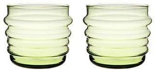 Set of 2 Marimekko Sukat Makkaralla Green Glasses - modern - cups and glassware - by Crate&Barrel