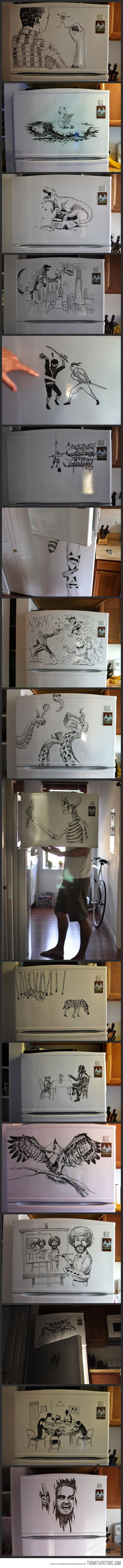 Refrigerator Art...people are so creative. Sometimes stuff like this makes me think the world is a wonderful place to be. People having fun and creating beautiful things. :)