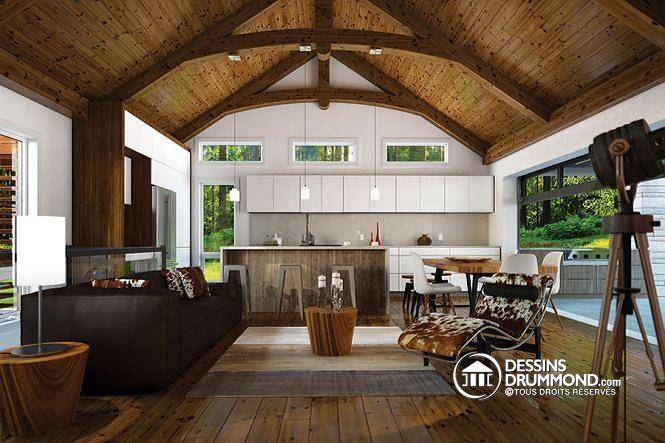 Vue intérieure Plain pied rustique, plafond cathédrale avec poutres de bois…