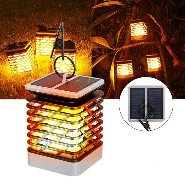 Solar Lights Outdoor Candle Lantern Garden LED Security Lamp Flickering Flame