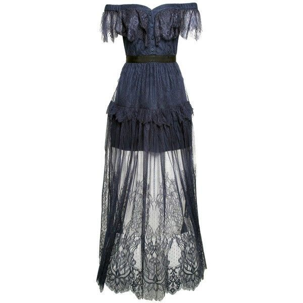 296acc8c6ac0 Self-Portrait Off-the-Shoulder Floral-Embroidered Fine-Lace Maxi Dress