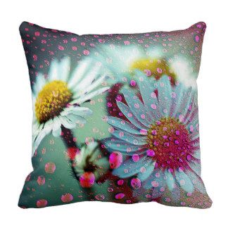 Delightful Pink Raindrops on White Daisies Throw Pillow