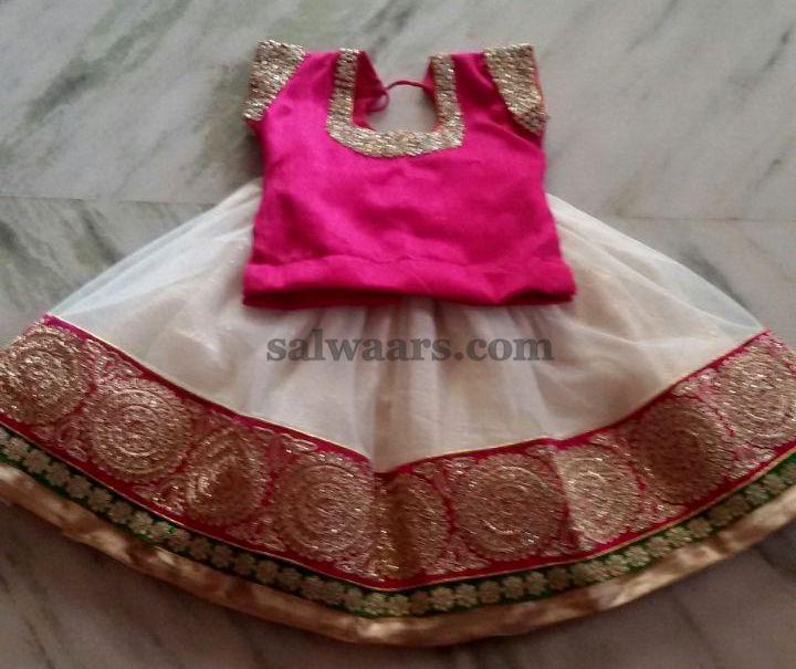 Simple Net Lehenga Pearl Blouse - Indian Dresses