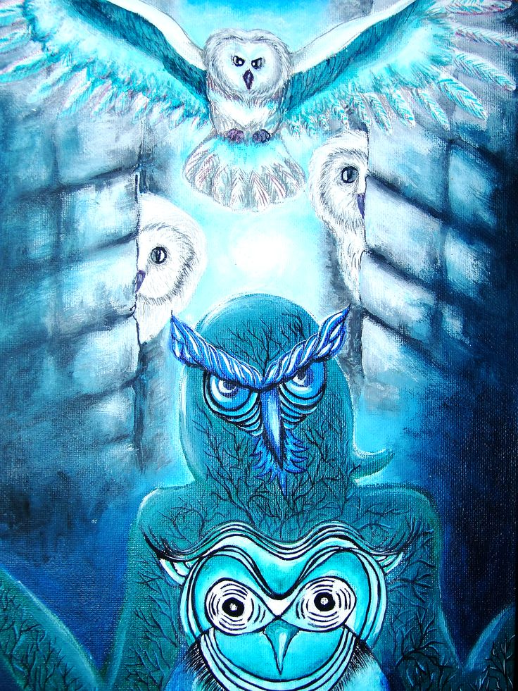 """The Owls: Obsessive Wisdom"" acrylic paint on canvas"