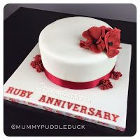 40th wedding anniversary ruby wedding celebration cake. Poppies and roses.  Mummypuddleduck blog: Coloured icing review - Renshaw, Tesco own label and Squires Kitchen