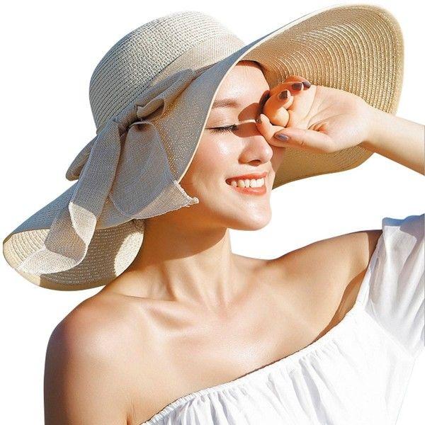 Womens Big Bowknot Straw Hat Floppy Foldable Roll Up Beach Cap Sun Hat Upf 50 Beige C117ynrykn7 Summer Hats For Women Sun Hats For Women Summer Hats