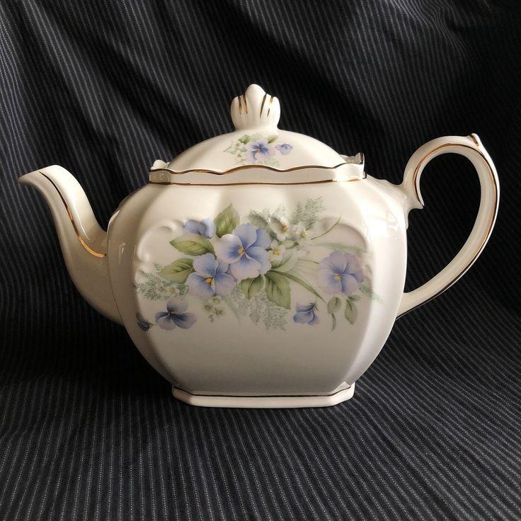 Vintage Unused Sadler Cube Teapot Lavender Pansy Pansies Floral Flowers      #Sadler