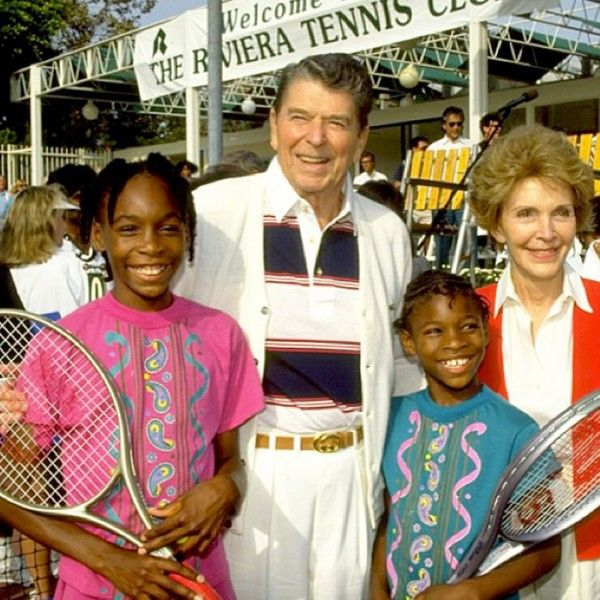 Surely the #tennis #rackets are a dead giveaway, but can you guess who these famous sisters are posing with the Reagans?  Posted on shape.com