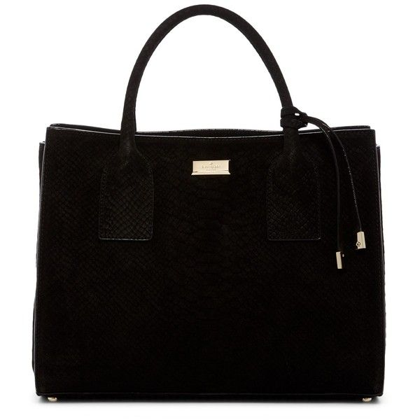 kate spade new york Meriwether Snake Embossed Suede Tote (810 PEN) ❤ liked on Polyvore featuring bags, handbags, tote bags, black, foldover tote, suede tote bag, suede purse, tote handbags and foldable tote