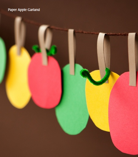 Paper Apple Garland. So many ways to use this idea at home!