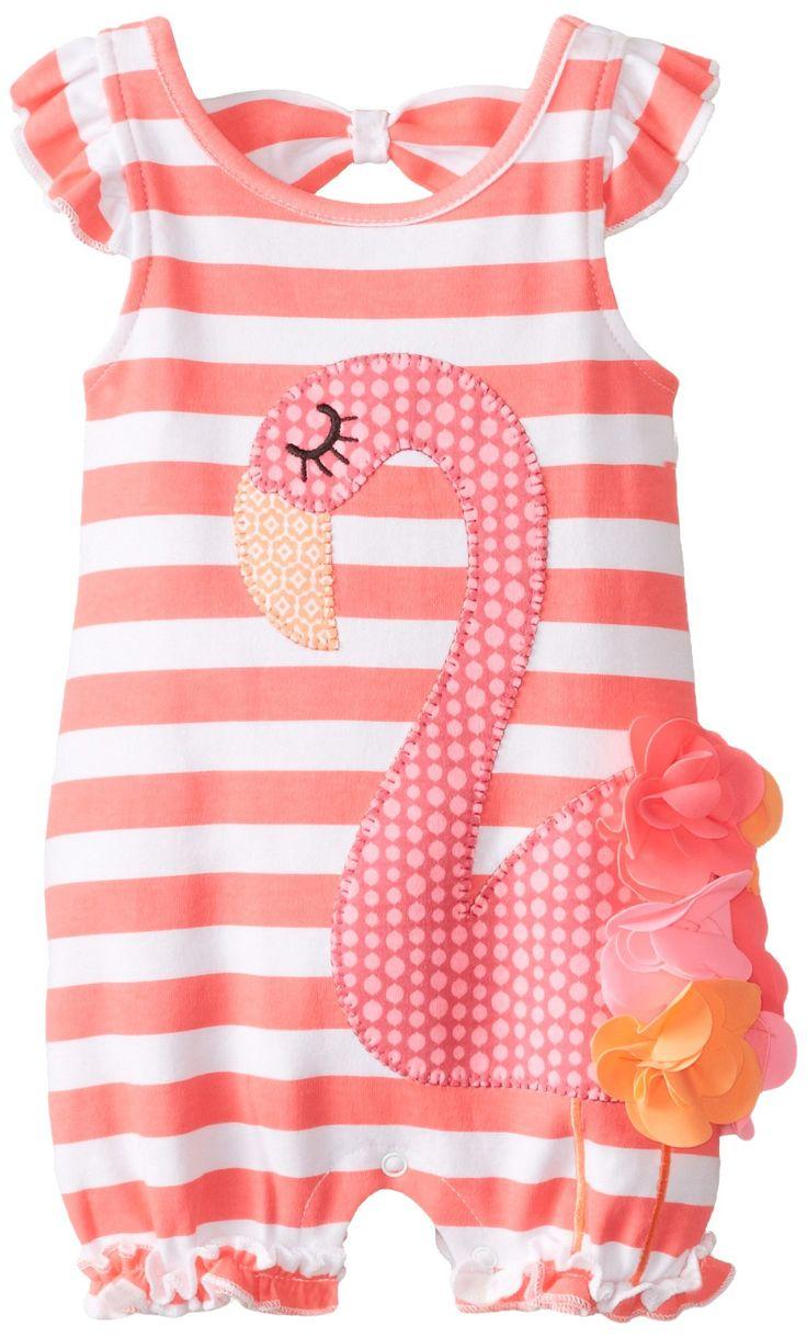 Mud Pie Baby-Girls Newborn Flamingo Bubble Romper, Pink, 0-6 Months