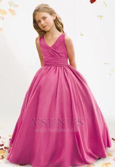 Vestido+niña+ceremonia+Rosa+Hasta+el+suelo+Satén+Volantes+Adorno+Hinchado