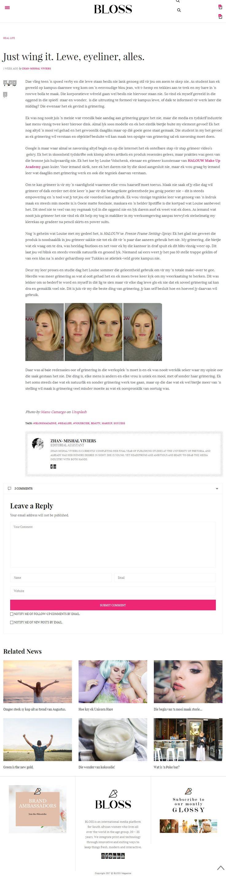 Halouw Make-up Academy featured in latest Afrikaans Mag- BLOSS. #makeup #article #makeuptips #halouw #makeupacademy