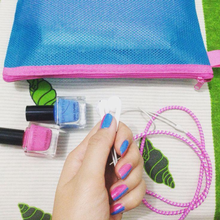 #pink #blue #nailart #myself