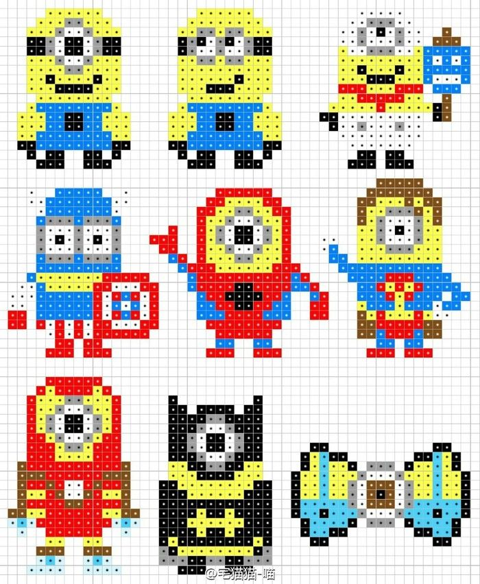Minion Perler Bead Patterns | Perler Beads | アクアビーズ 図案 ...