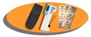 http://www.termometer.se/TempSet-Orange.html  TempSet Orange  Vårt senaste instrument, FoodTemp, för egenkontroller av livsmedel som både är vattentät (IP65) och har inbyggd ficklampa som belyser föremålet som mäts. FoodTemp kan både mäta temperaturen med IR (beröringsfritt) samt med insticksgivare. Lysdioder markerar om mätningen ligger innanför eller utanför de säkra gränserna för livsmedel...
