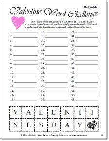 Classroom Freebies: Laura's Valentine Word Challenge Freebie