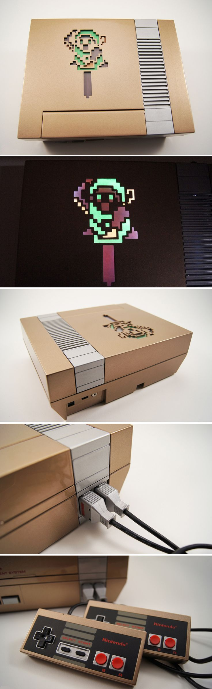 Zelda Custom NES Console and Controllers  Like, Re-Pin. Thank's!!!  Repined by http://www.casualgameportal.com/category/nintendo/