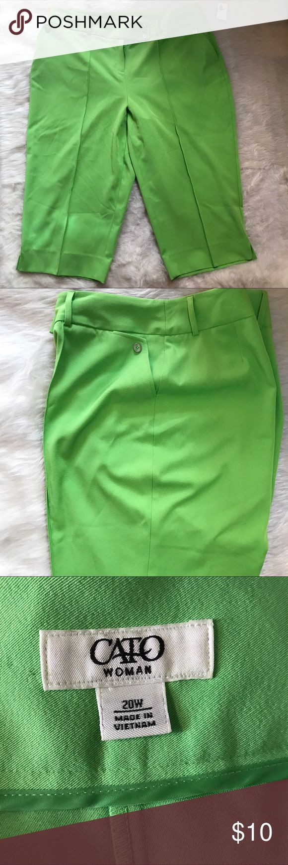 ✔️NWT Cato Woman Plus Size Bermuda Pants 20W ✔️Cato✔️Plus Size 20W✔️Lime Green✔️These cuties have a stay stick down the front✔️NWT✔️Bermuda Pants Cato Woman Pants Capris