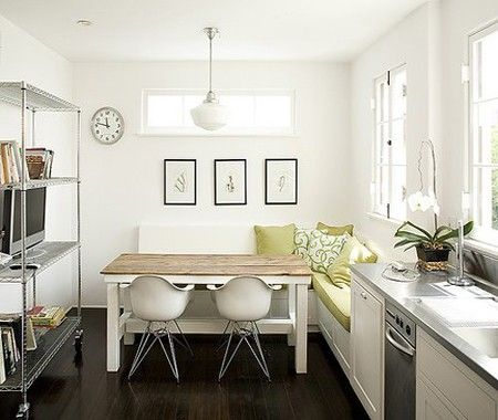 Small spaces kitchen: Kitchens, Dining Room, White Kitchen, Ideas, Interior, Bench, Small Kitchen