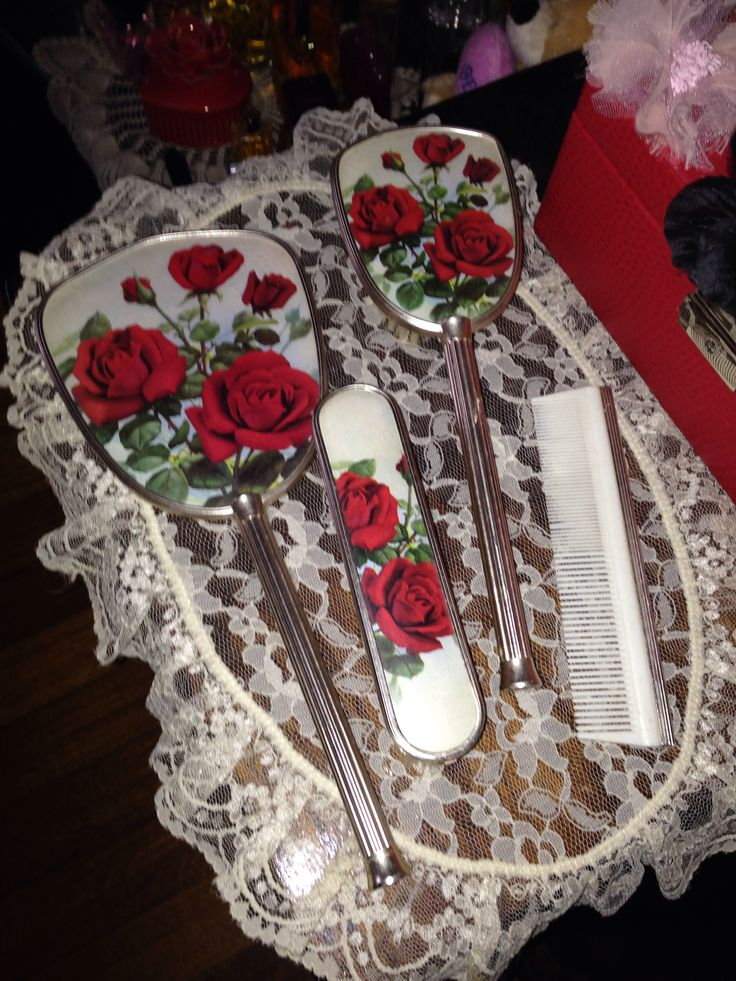 Pretty red rose dressing table set from eBay