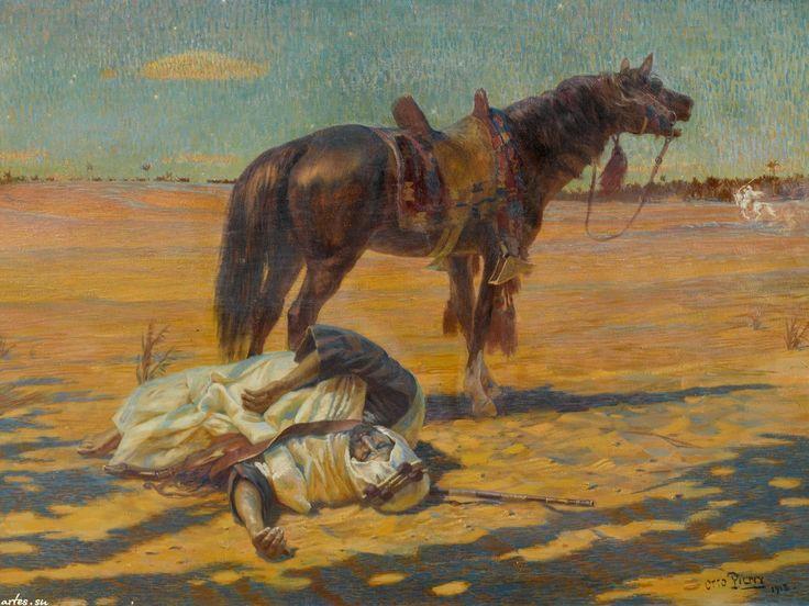 Скачать обои восток, воин и лошадь в пустыне, Otto Pilny 1600x1200