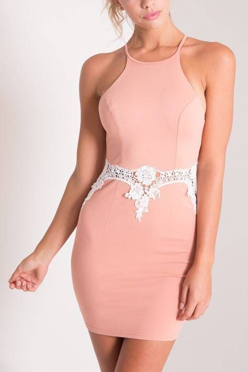Switch up your style this summer with this halter dress. It is made in a soft fabric and features crochet lace insert, strap at back and zip back closure. Looks awesome with heels and a clutch.