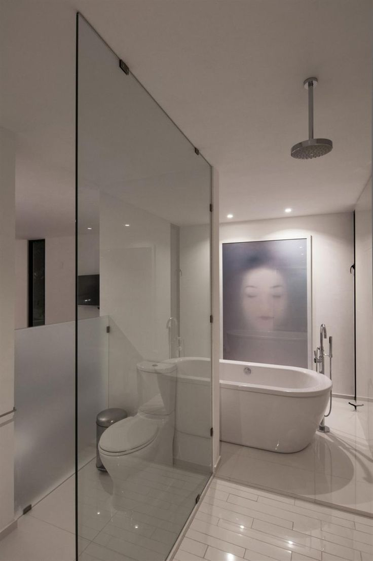 glass partition divide the tolet room and the shower area