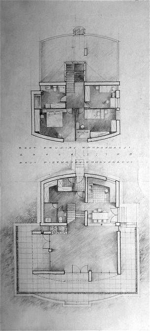 Plans of a residential family house