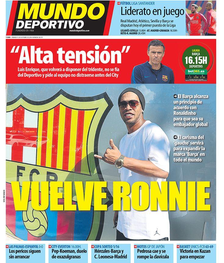 Portada Mundo Deportivo, sábado 15 de octubre de 2016