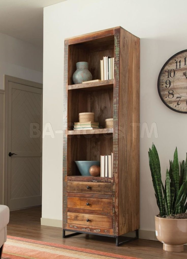 Furniture, Tall Distressed Wooden Bookcase And Distressed Bookcase With Drawers…
