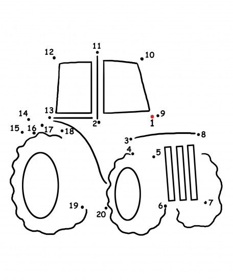 FREE Dot to Dot Tractor Coloring Page a farm song