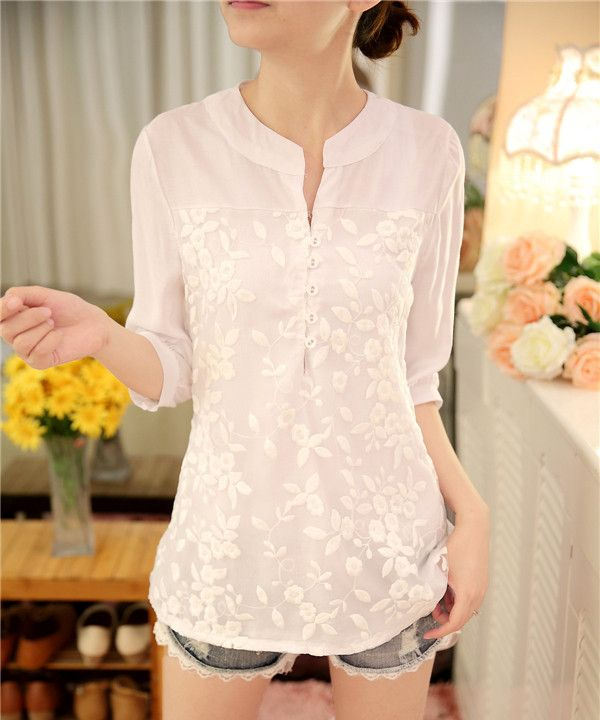New Women Casual 2017 Summer Lace Chiffon Blouse Top Shirt Half sleeve Organza Hollow out OL Embroidery Floral Plus Size M~XXL
