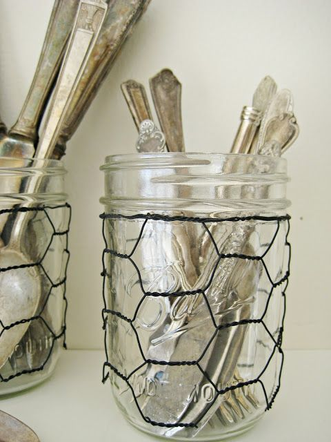 Happy At Home: Chicken Wire Glass Jar Sleeves- Just the cutest thing ever for a kitchen!