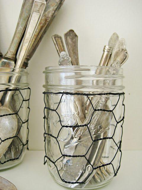 add chicken wire to mason jars...cute way to dress a buffet talbe