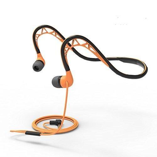 Running Headphones with Microphone Workout Earbuds Sweatproof Sport Earphones Neckband Headphones Wired 3.5mm Headphones for iPhone AndroidOrange