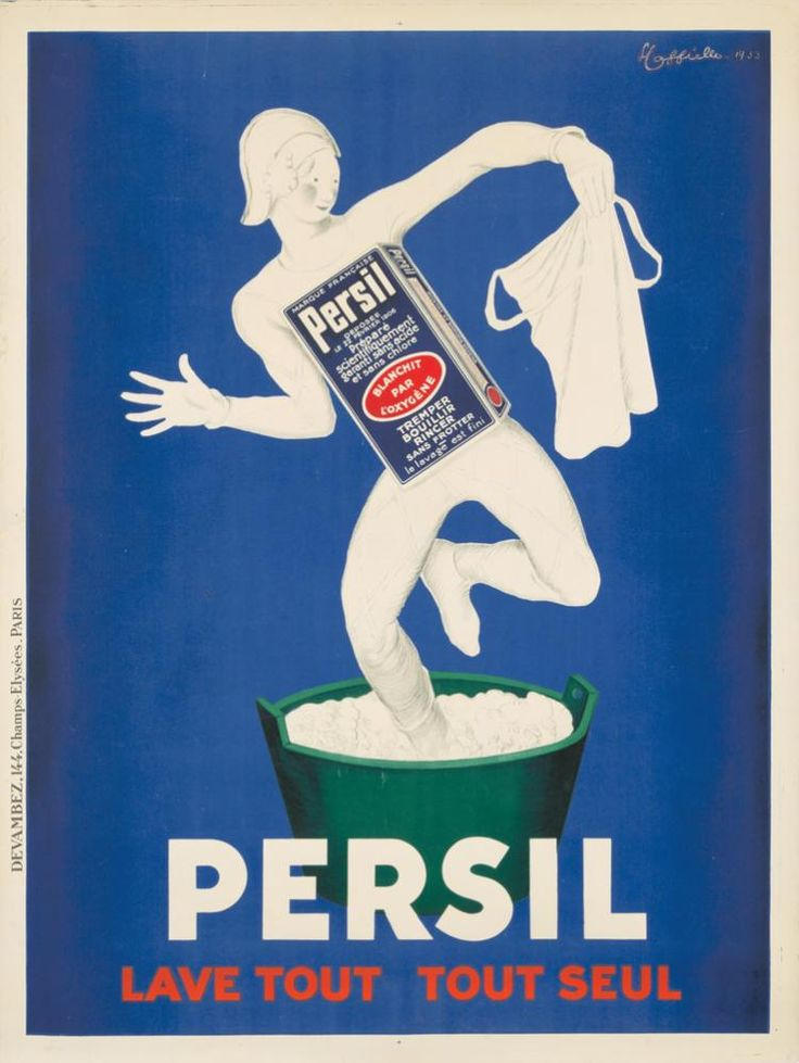 "Artist: LEONETTO CAPPIELLO (1875-1942) Size: 47 1/2 x 63 1/4 in./120.4 x 160.7 cm Imp. Devambez, Paris  ""This is Cappiello's second poster for Persil ... the washing soda that 'works on everything - all by itself,' and he once again employs one of his harlequins who, along with Pierrots, dominate his cast of characters"" (Cappiello/Rennert, p. 308). This is the larger format version of the poster."