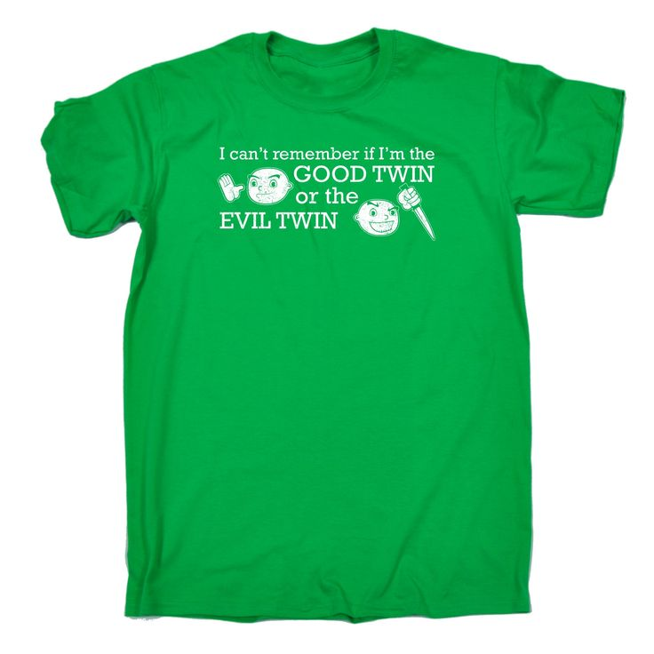 123t USA Men's I Can't Remember If I'm The Good Twin Or The Evil Twin Funny T-Shirt