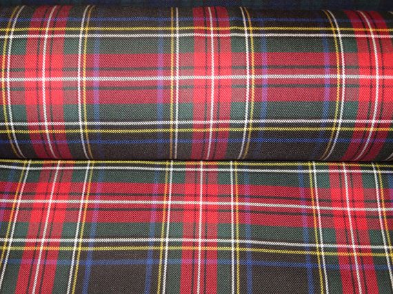 Black Stewart Tartan Plaid Fabric Poly Viscose Fabric~Suiting Suit Kilt Skirt Fabric~Decor Craft Jacket Wedding Black Red Fabric@sohoskirts