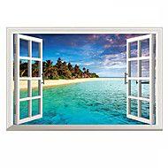 Fresh D Mediterranean Sea Landscape Seabeach D Wall Stickers Fashion Bathroom Living Room Wall Decals
