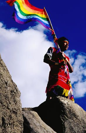 The Faces of Peru. Flag bearer at ancient Incan Inti Raymi festival at Sacsayhuaman. #kiwibemine #pinittowinit
